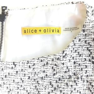 Alice + Olivia Tweed Black/White Cut Out Dress 8